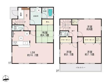 岡山市中区四御神の新築 一戸建て分譲住宅の間取り図