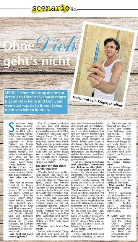 """Recklinghäuser Zeitung, """"scenario4u"""", 12.11.2018 © Kathi L."""
