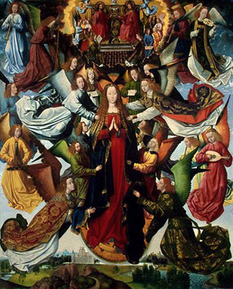 Maria Himmelskönigin, Meister der Lucialegende oder Brügge-Meister (richtiger Name unbekannt), 1480-1500, Wikipedia, gemeinfrei
