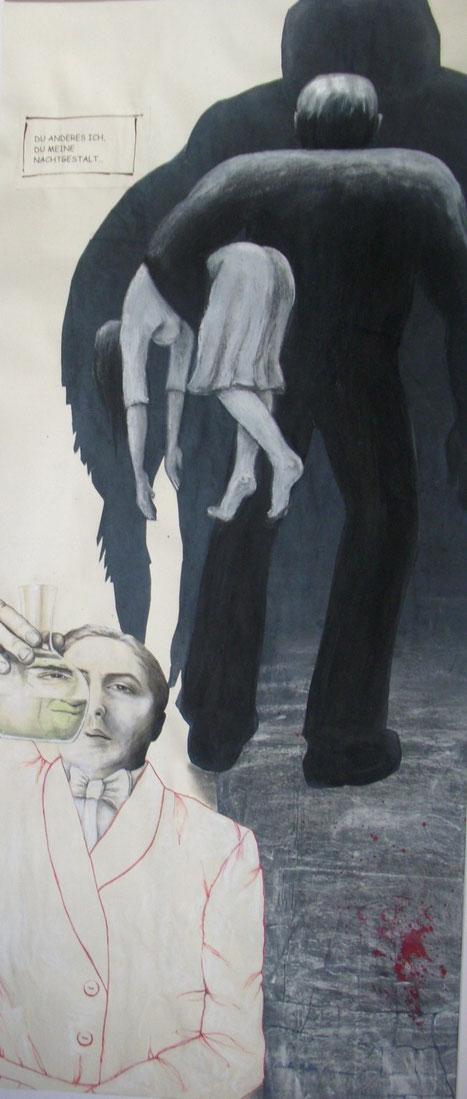 """Das andere Ich, Zeichnung und Collage auf Papier, 80 x 180 cm. 2012 als Beitrag zur Jahresausstellung der """"Sohle 1"""" unter dem Titel """"Metamorphose"""" entstanden."""