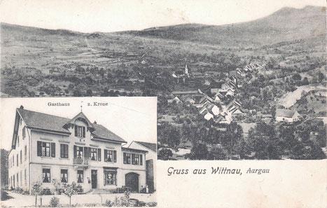 Zweiteilige Ansichtskarte aus dem Verlag von Max Roon, Zürich (No. 3052), gelaufen 1907.