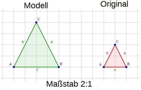Beispiel für einen vergrößernden Maßstab anhand von zwei Dreiecken