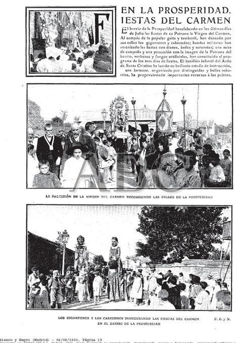 Blanco y Negro ( ABC) 1907. Procesión del Carmen, patrona de Prosperidad