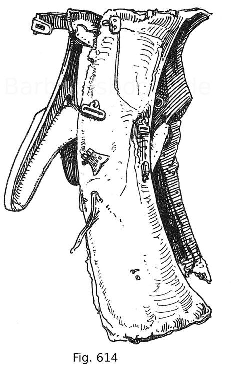 Fig. 614. Turniersattel im hohen Zeug, für das Kolbenturnier zu Ross. Zweite Hälfte 15. Jahrhundert. Germanisches Nationalmuseum zu Nürnberg. Nach Leitner, Freydal.