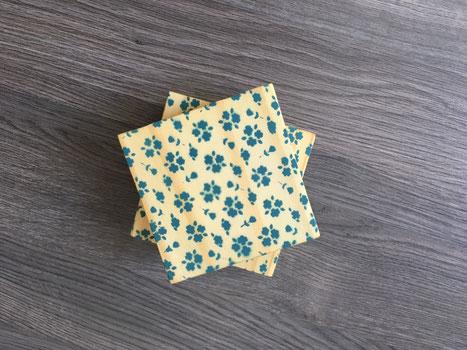 Sous-verre, jaune, fleur, fleur bleu