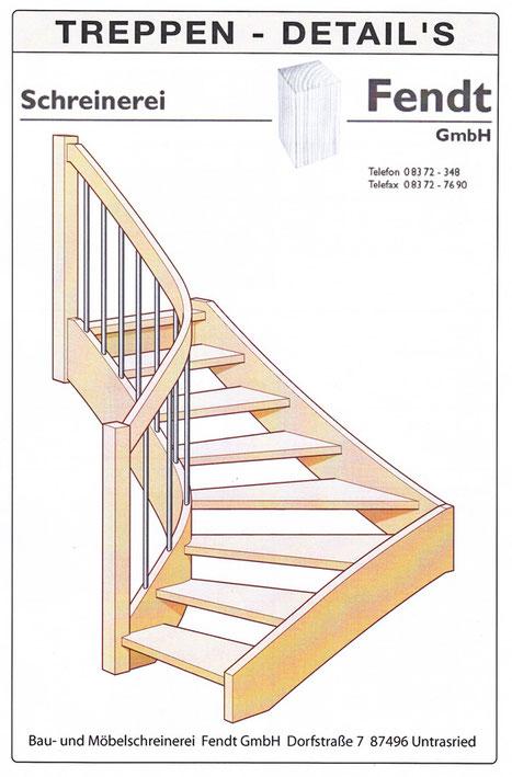 Skizze einer Holztreppe der Schreinerei Fendt im Allgäu