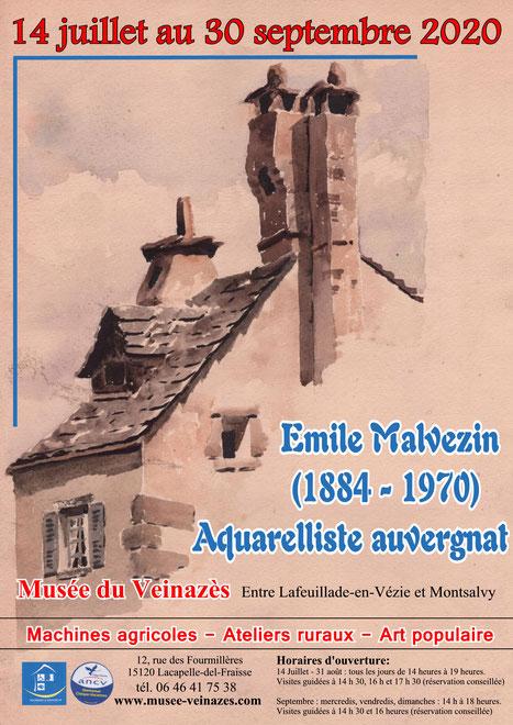 aquarelle d'Emile Malvezin (1884-1970) représentant des cheminées de toits du Cantal