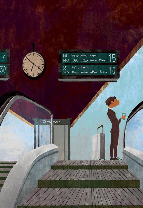 駅のホームで列車を待つスーツケースを持った男性のイラスト
