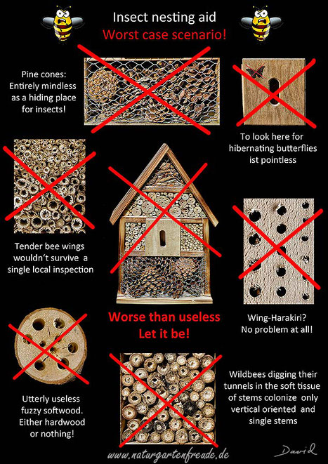 poster insect nesting aid insect hotel wild bee wildlife garden pine cones softwood drills  negative example