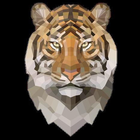 """Der """"Tiger Mythos"""" dargestellt mit Polygon Facetten"""