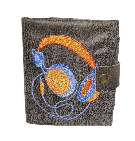 Petit portefeuille compact  homme, faux cuir gris, broderie casque audio,  porte-cartes,  3 volets, étoiles style décontracté