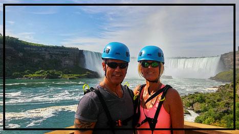 Juan and Frances Levesque in Niagara Falls, Canada. MistRider Zipline.