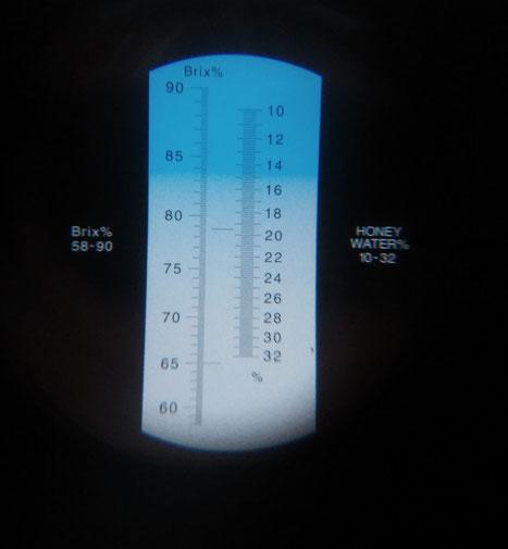 Blick durch das Refraktometer gegen Tageslicht