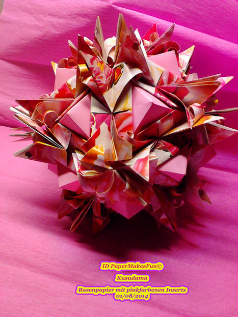 Kusudama - Roses with pink Inserts