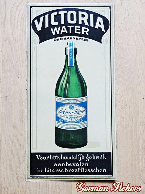 Victoria Water Brunnen Oberlahnstein / Lahnstein - Blechschild  Oberlahnstein um 1920, 25 x 50 cm  Hersteller G. De Andreis Marseilles  - Victoria Water Oberlahnstein - tin sign  Germany 1920`s