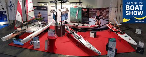 Sportwerft Messestand auf der Hamburg BOAT SHOW mit ROWonAIR Rudern und XCAT SAIL