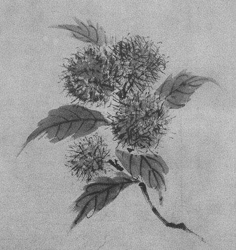 Mou hsi. Branche de châtaignier. Ernst Grosse (1862-1927) : Le lavis en Extrême-Orient