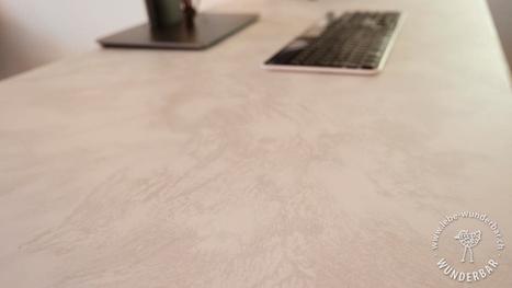 Blogartikel Schreibtisch-Beschichtung Spachteltechnik Möbel Veredelung Gestaltung #lebewunderbar