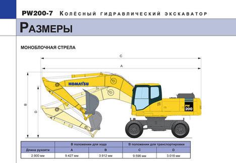 Komatsu PW200-7 размеры