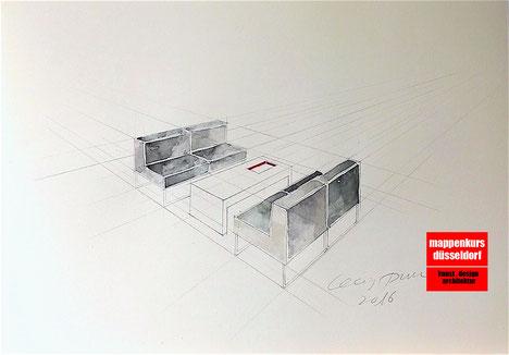 Mappenkurs Düsseldorf, Mappenvorbereitungskurs, Perspektivisches Zeichnen, Architektur