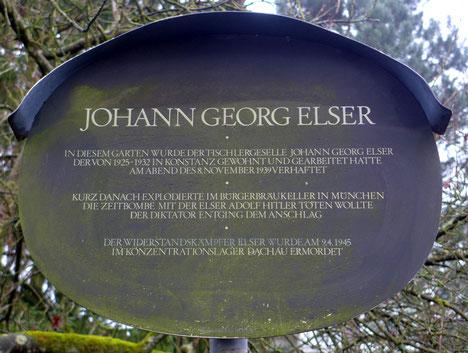 Gedenktafel an Georg Elser in der Schwedenschanze in Konstanz