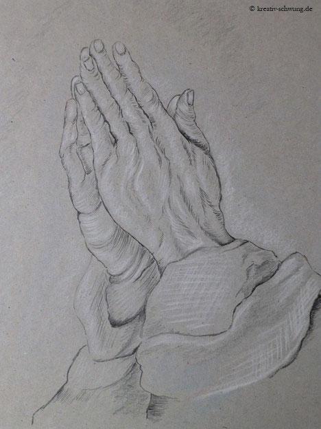 "nach Dürers berühmter Studie ""Betende Hände"""