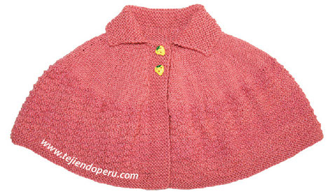 Capa con cuello para niñas - Tejiendo Perú...