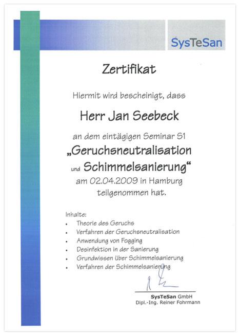 Zertifikat Systesan Schimmelpilzsanierung & Geruchsneutralisation 1