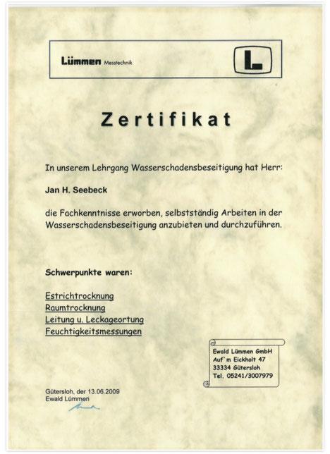 Lümmen Messtechnik Zertifikat Trocknung & Leckortung