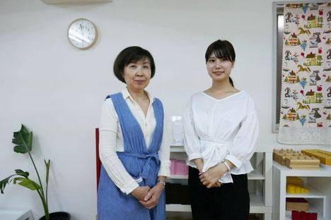 京都女子大学4回生の津山さんと話を進める中でモンテッソーリ教育とリトミックの共通点について理解が深まりました。