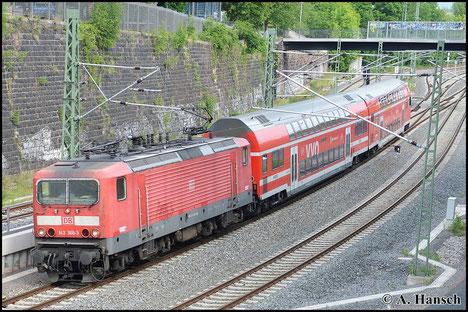 143 366-3 kam kürzlich vom Betriebshof Trier nach Dresden. Am 25. Mai 2015 erwischte ich die Lok an der RB Zwickau - Dresden kurz vor Chemnitz Hbf.