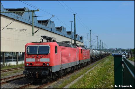 143 841-5 und 143 893-6 sind wegen Überfüllung des Bahnhofs Hof am 23. Juli 2021 in Chemnitz Hbf. zwischengestellt worden
