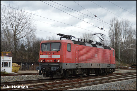 143 348-1 rollt am 29. Januar 2018 Lz durch Leipzig-Thekla