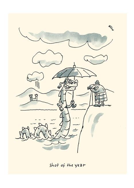 Schottland Nessie Foto Tourismus Kamera Karikatur Cartoon Funny Pictures