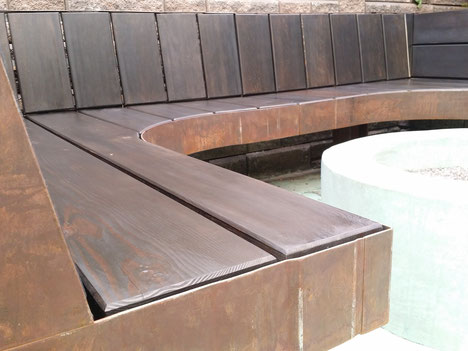 grant irish outdoor custom wood and steel bench