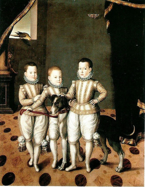 LES PRINCES VITTORIO AMEDEO (1587-1637), EMANUELE FILIBERTO (1588-1624) et FILIPPO EMANUELE (1586-1605) VERS 1592/95.  GIOVANNI CARACCA, ECOLE HOLLANDAISE (actif 1567/1607) HUILE SUR TOILE  177,1 x 142,2 cm.