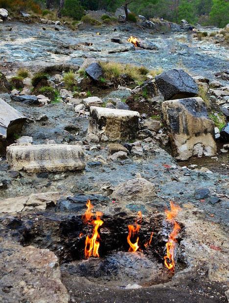 'Ewige Feuer' Chimaera Türkei Lykische Küste