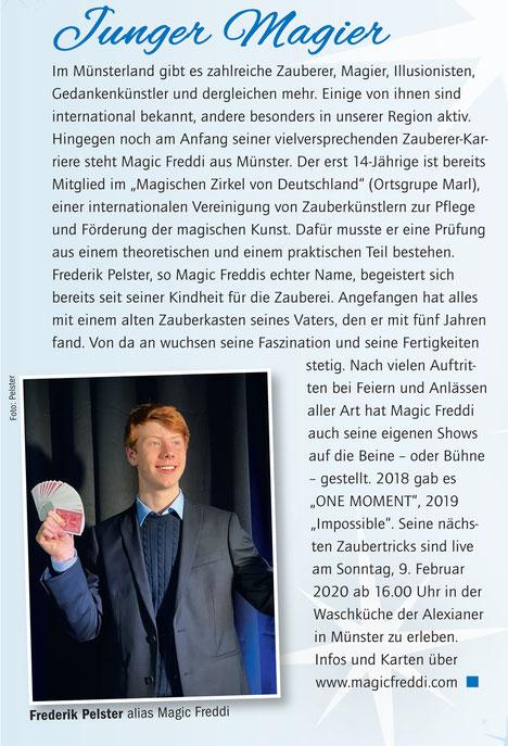 Magic Freddi Tecklenborg Verlag Münsterland Magazin Münster Zauberer Zaubershow Frederik Pelster Zauberkunst Zaubertricks
