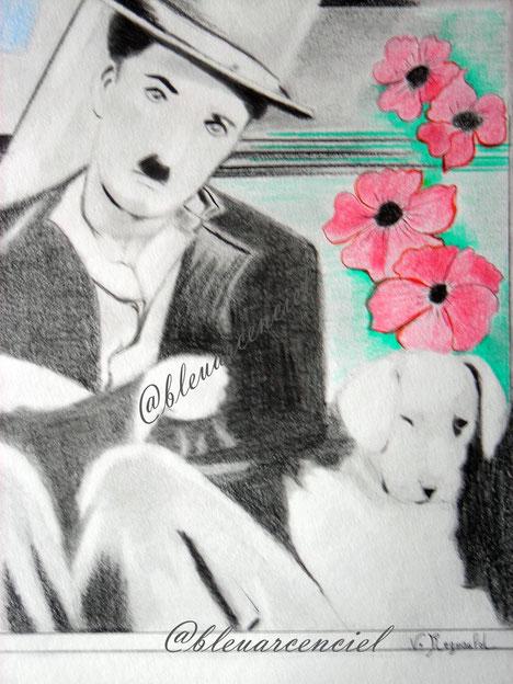 2012 Charles Chaplin Dessin aux crayons sur feuille canson 24/32 cm d'après l'auteur