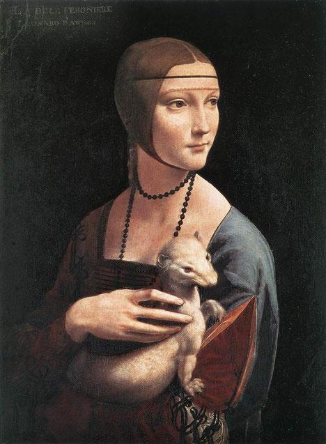 Дама с горностаем - Леонардо да Винчи. Самые известные картины Леонардо да Винчи