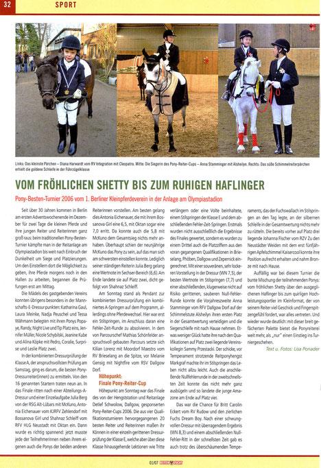"""Der RVI beim Pony-Besten-Turnier 2006, dieser Artikel erschien in der 01/2007 Ausgabe von """"Reiten und Zucht"""""""