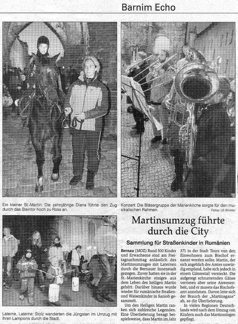 Der RVI beim Martinsumzug und Sammlung für rumänische Straßen- und Waisenkinder in Bernau, erschienen in der MOZ am 11.11.2011