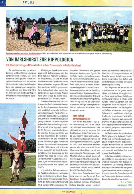 """Der RVI nimmt erfolgreich beim Breitensporttag in Berlin-Karlshorst teil und sichert sich die Teilnahme bei der hippologica, dieser Artikel erschien in der Oktober Ausgabe 2005 der """"Reiten und Zucht"""""""