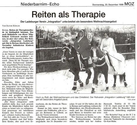Der RVI bietet nun Therapie mit Pferden an, dieser Artikel erschien am 23.12.1999  in der MOZ