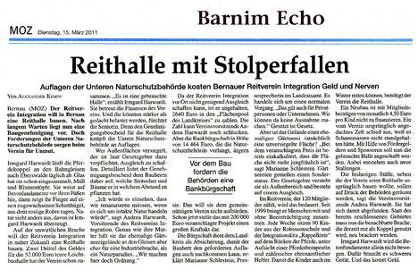 Auflagen der Naturschutzbehörde für den Bau der Reithalle kosten den RVI Geld und Nerven,  erschienen am 15.03.2011 in der MOZ