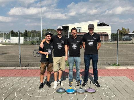 Auch beim Stockschießen aktiv, vl.Christian, Marco, Lukas, Steffen