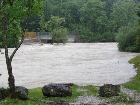 Der Traunstein im Hochwasser 2013
