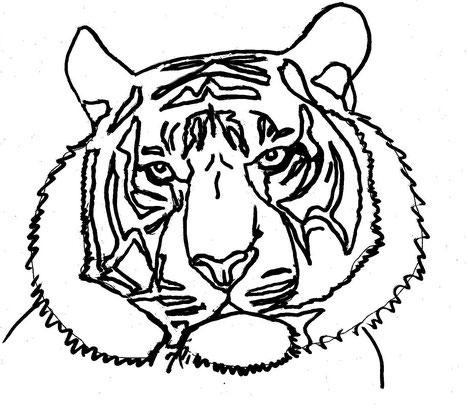 10-Minuten-Malerei: Tigerkopf