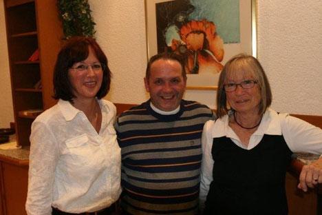 Marlies Filler mit den beiden Kassenprüfern Markus Süpfle und Brigitte Dümmler