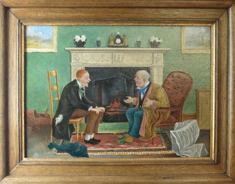 Pair of amusing folk art oil portraits of old friends talking, 19th century